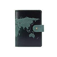 """Шкіряне портмоне для паспорта / ID документів HiArt PB-03S/1 Shabby Alga """"World Map"""", фото 1"""