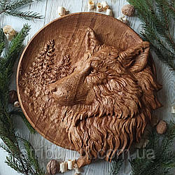 """Картина резная из дерева. """"Волк"""""""
