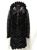Шубка-жилет из пластин норки-ультрамодный с капюшоном+кожаный съемный рукав-длина 90см 48р Ог-96 ОБ-108