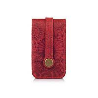 """Красива червона ключниця з натуральної матової шкіри з авторським художнім тисненням """"Mehendi Art"""", фото 1"""