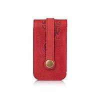 """Красивая красная ключница с натуральной матовой кожи с авторским художественным тиснением """"Mehendi Classic"""", фото 1"""