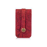 """Красива червона ключниця з натуральної матової шкіри з авторським художнім тисненням """"let's Go Travel"""", фото 1"""