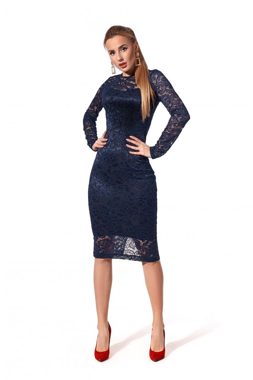 Платье гипюровое 1213.1 темно-синий