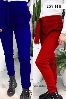 Замшеві штани жіночі 257 НВ, синій,червоний 42-44 та 44-46 розміри
