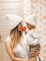Зимняя вязаная детская шапка комплект