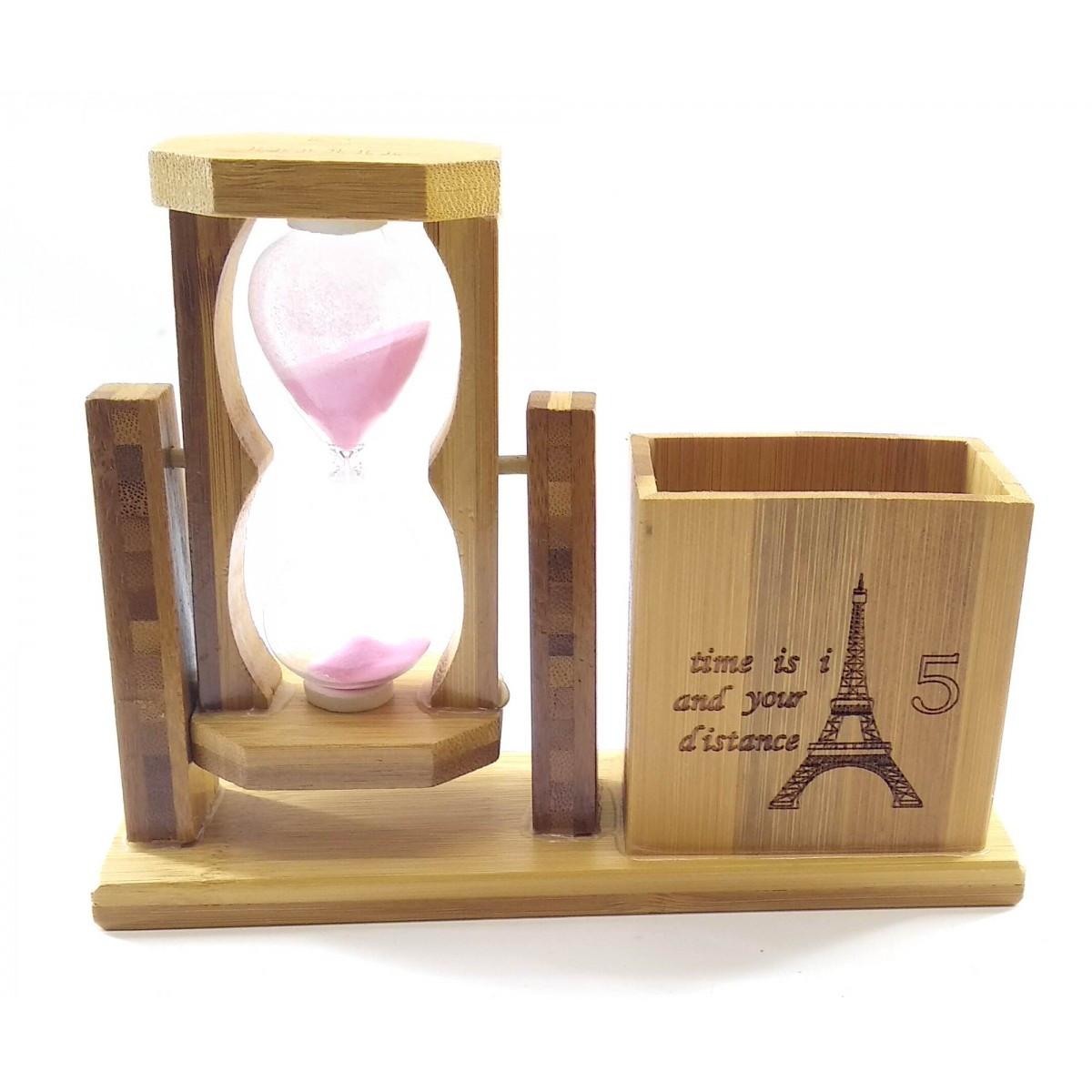 Часы песочные с подставкой для ручек красный песок(19х15х5,5 см)
