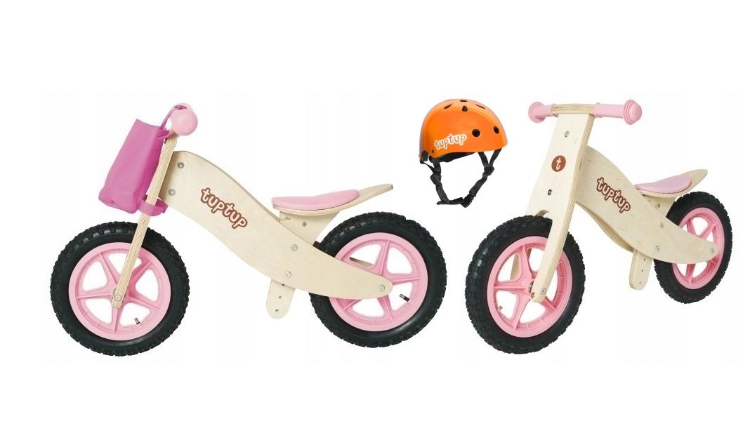 Деревянный велосипед без педалей TUPTUP розовый+защитный шлем