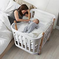 Кроватка-люлька Sleepy + продольный маятник. 100% массив бука и вставки ольхи