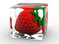 3Д Фотообои для кухни клубника во льду разные текстуры , индивидуальный размер