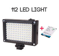 Накамерный свет Ulanzi 112 LED + BP-4L аккумулятор 2500мА   видео освещение поддержка 4xAA