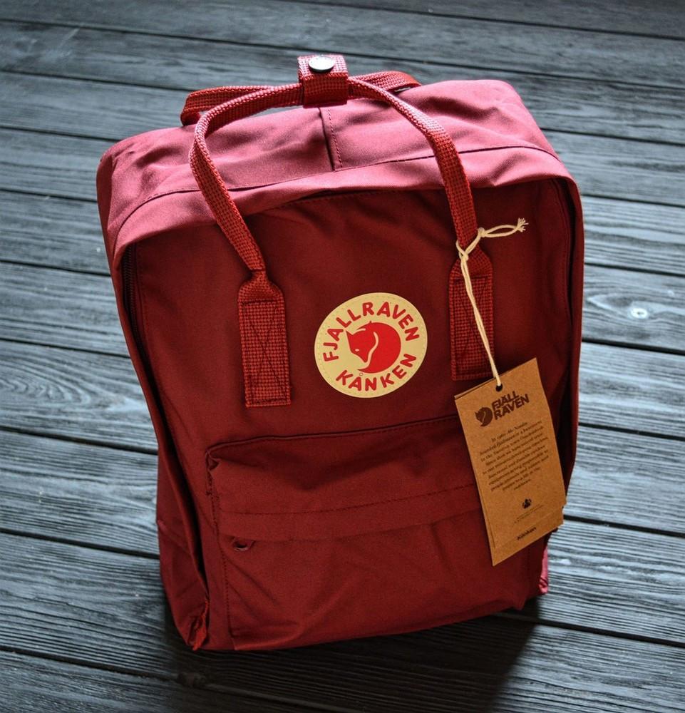 Молодежный женский бордовый рюкзак-сумка канкен Fjallraven Kanken classic