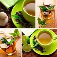 3Д Фотообои для кухни зелёный чай разные текстуры , индивидуальный размер