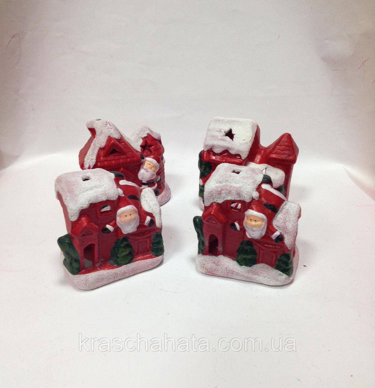 Статуэтка новогодняя, Домик Санты, подсвечник для лед свечи, новогодние сувениры, Днепр