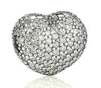 Шарм клипса сердце. серебро 925