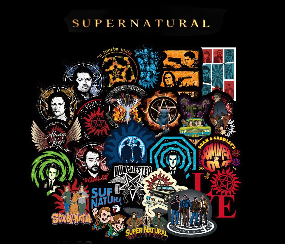 Набор наклеек   Сверхъестественное / Supernatural черные 25шт
