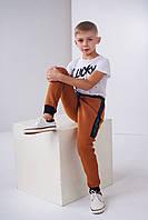 Штаны для мальчика-подростка терракотовые на резинке размеры 128,140,146,152