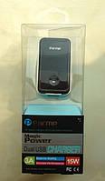 """Сетевое зарядное устройство для мобильного телефона 2 USB (iPhone 5), black (DUC-0178210B) """"Parmp"""""""