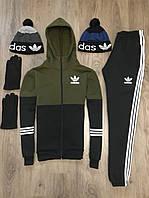 ЛЮКС! Спортивный костюм мужской зимний до - 25*С в стиле Adidas CL X black-khaki с капюшоном