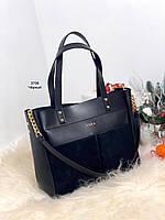 Большая замшевая черная женская сумка на плечо натуральная замша+экокожа, фото 1