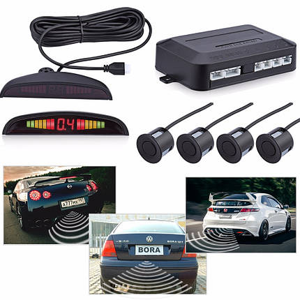 Парктроник, парковочный радар на 4 датчика с LED дисплеем Premium Parking Sensor PS-201, фото 2