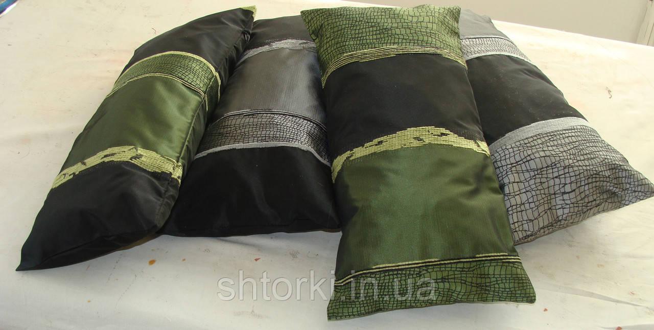 Комплект подушек серебристые  и зелень 4шт