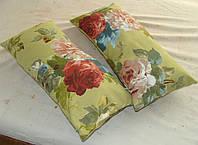 Комплект подушек салатовые  с цветами 2шт