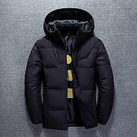Стильная куртка зимняя мужская теплая спортивный пуховик с капюшоном, цвет черный, размер