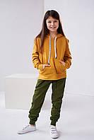 Спортивные детские штаны для девочки подростка цвета хаки разные размеры 128, 134, 140, 146, 152