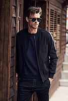 Черная мужская куртка бомбер со вставками из кожзама, фото 1