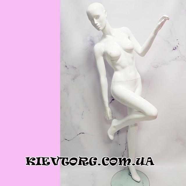 Манекен женский белый глянцевый с чертами лица LUX (+ Видео)