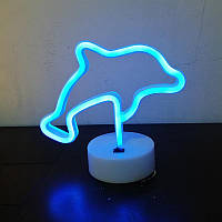 Освещение для детской комнаты LED Интерьерный неоновый ночник Дельфын, фото 1
