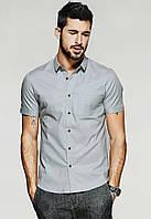 Приталенная летняя рубашка с коротким рукавом., фото 1