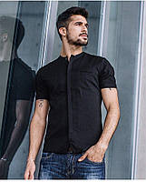 Летняя льняная мужская рубашка Black .