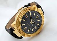 Механические часы РЕКОРД classic, механика с автозаводом, цвет корпуса золотистый черный циферблат.