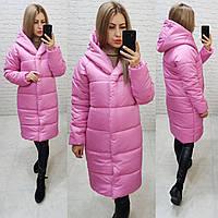 Женская зимняя куртка одеяло с капюшоном ярко-розовая, арт М530