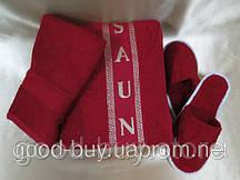 Набор для сауны женский MERZUKA бордовый (тапочки, шапочка, полотенце) махра Турция
