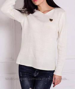 Женский пуловер, размеры: 42-48, цвета - белый, серый, бежевый, темно-синий, джинс, бордовый, бутылка