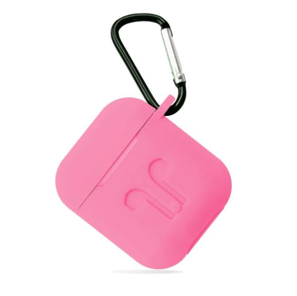 Футляр, Чехол для AirPods силиконовый LOGO 2в1 (+ карабин под брелок) цвет розовый Candy pink