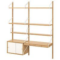 IKEA SVALNAS Пристенный стол, бамбук, белый, 150x35x176 см (793.207.44)