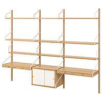 IKEA SVALNAS Пристенный стол, бамбук, белый, 233x35x176 см (493.207.74)