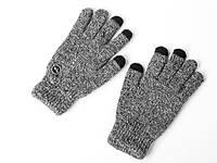 Перчатки мужские зимние теплые с сенсорными пальцами, меланжевые, черные, фото 1