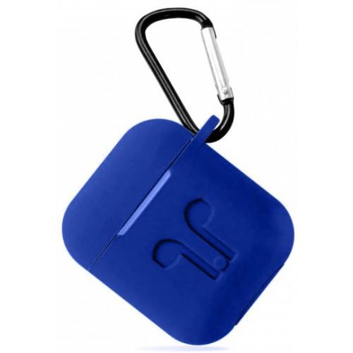 Футляр, Чехол для AirPods силиконовый LOGO 2в1 (+ карабин под брелок) цвет синий Deep-blue