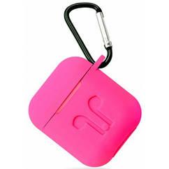 Футляр, Чехол для AirPods силиконовый LOGO 2в1 (+ карабин под брелок) цвет ярко розовый Hot pink