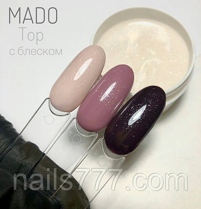 Rubber top каучуковий Мado з шиммером для гель лаку (на розлив) без липкого шару 15 мл, фото 2