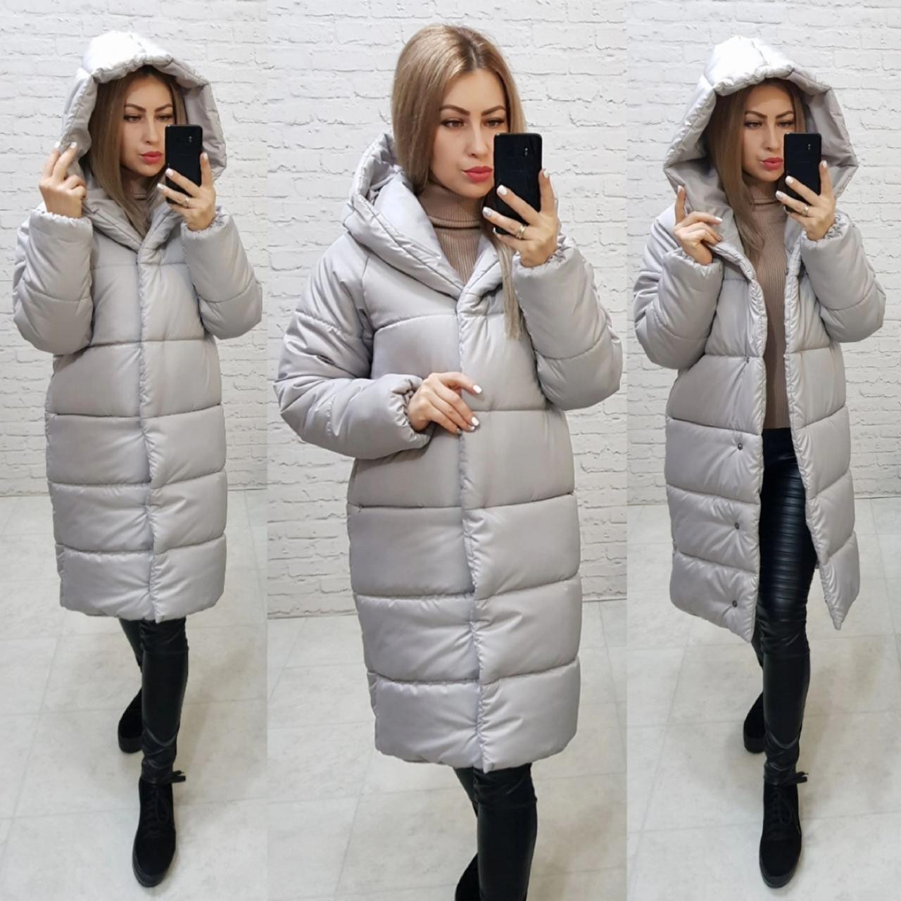 М530 Женская зимняя куртка с капюшоном серая