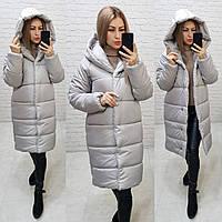Женская зимняя куртка с капюшоном серая, арт М530
