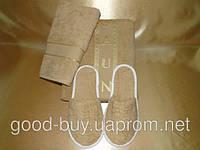Набор для сауны мужской MERZUKA коричневый (тапочки, шапочка, полотенце) Турция