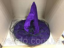Шляпа Ведьмы бархатная с пауком, пером, вуалью Фиолетовая