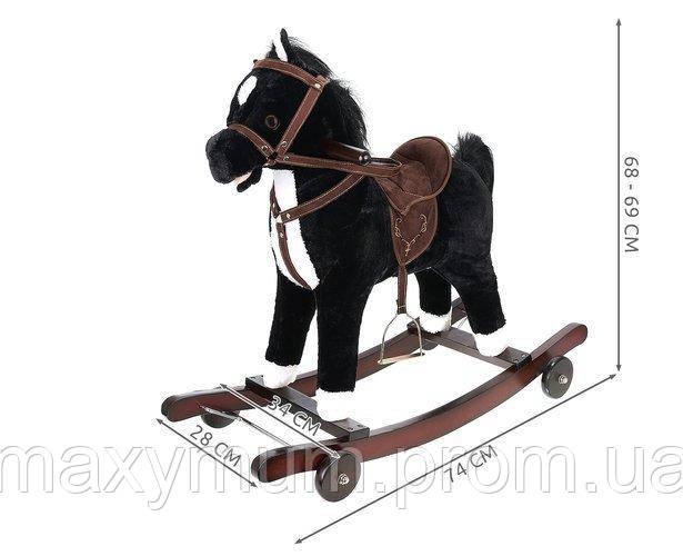 Качалка каталка пони интерактивная на колесах черно-белая Kruzzel. 69 см высота.