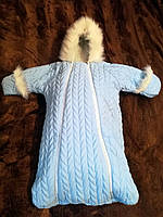 Зимний конверт для новорожденного с ручками голубой Очень теплый